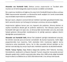 2013-TUNCAY-TAYMAZ-Alexander von Humboldt Vakfı Odulleri